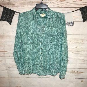 Maeve Geometric Print Button Up Long Sleeve Shirt
